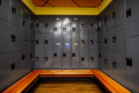 locker room: Image of locker room in school Stock Photo