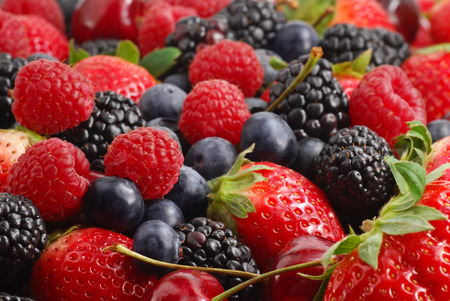 healthiness: Extreme close-up image of berries