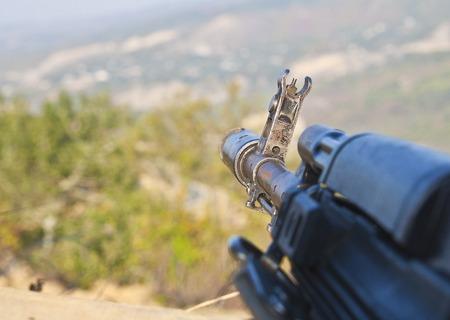 Kalashnikov assault rifle in the embrasure ak-74 Stock Photo
