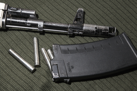 embrasure: Assault rifle in the embrasure ak-74 Stock Photo