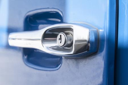 handle opening car door blue truck