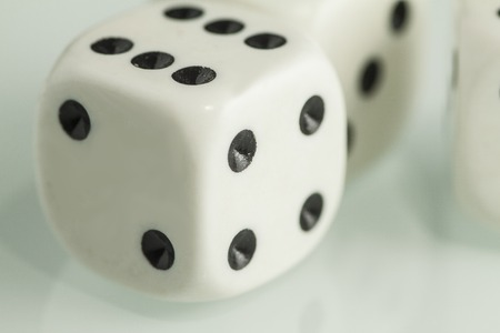 Two white dice isolated on Stock Photo