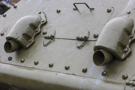 Rear of the tank, exhaust pipes Stock Photo