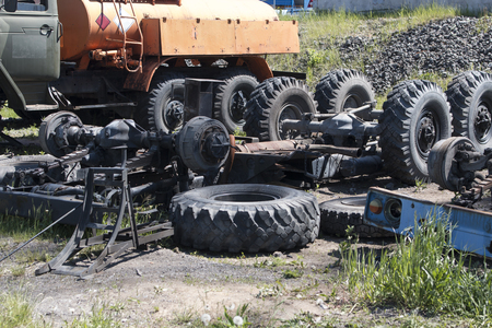 Dismantled old truck in a dump