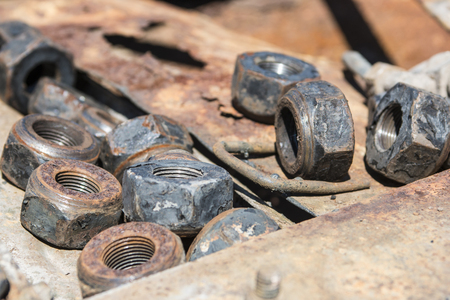 Old rusty bolts and nuts