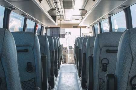 passenger compartment of a big shuttle bus