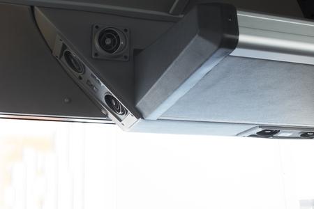 Modern automobile dashboard closeup. Screen multimedia system.