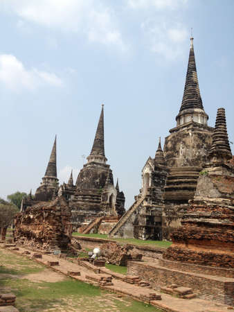 Three Pagodas in Ayutthaya, Thailand photo