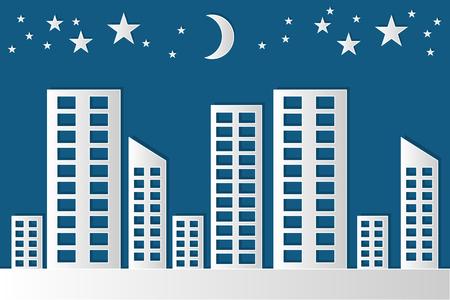 Stadt Nacht Papercut Vektor Standard-Bild - 88046510