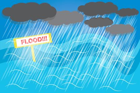 Berschwemmungen müssen vorbereitet werden, da das Wasser möglicherweise ohne Schutz überflutet wird. Vektor Standard-Bild - 88046511