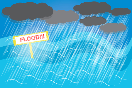 Overstromingen moeten worden voorbereid omdat het water kan worden overstroomd zonder onderdak. vector Stock Illustratie