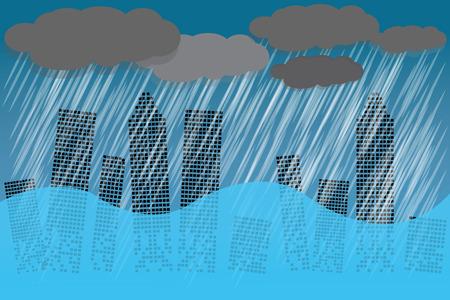 집중 호우로 날씨가 무거워. 물은 도시의 많은 건물을 범람 시켰습니다. 벡터