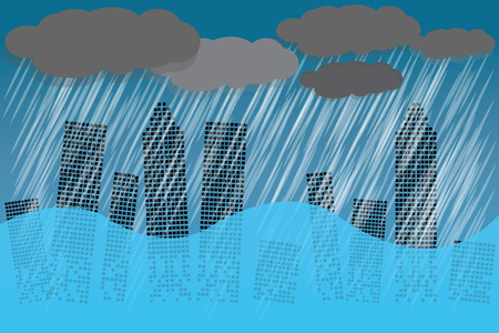 The weather is heavy with torrential rain. Water has flooded many buildings in the city. vector