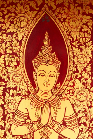 art door: Thai Line art door Stock Photo