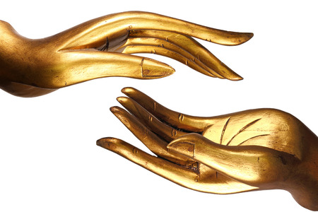 Hand Buddha gold Stock Photo