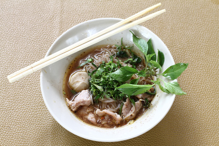thai noodle soup: Thai noodle soup (Kuay Tiew Ruer). Serve with Basil, bean Sprout Stock Photo