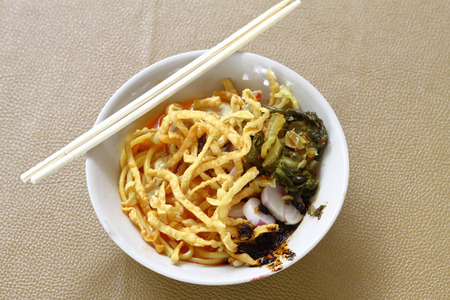 soi: Curried Noodle Soup (Khao soi) with coconut milk, Northern Thai
