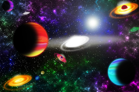 Space, light and interstellar star and nebulae Concept. Stock Photo