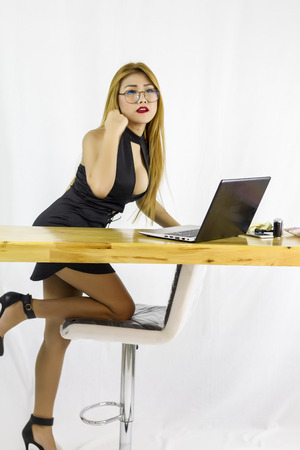 office girl with computer
