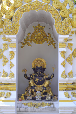 The Ganesh statue inside the bosom for the people to worship.