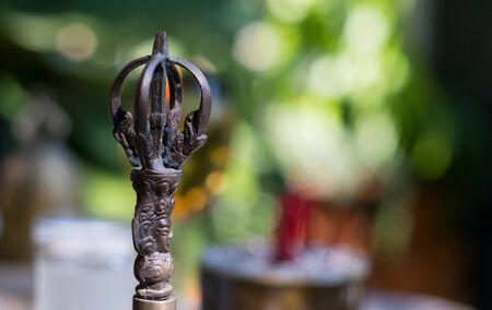 Closeup Vajra Deity Weapon Background Blur Nature