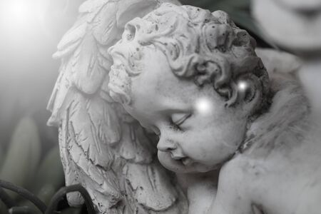 Closeup of angel statues sleeping with black and white images, soft sparkling lights