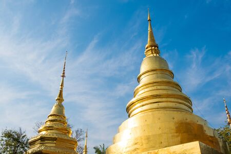 Chiang Mai Thailand, Phra Singh Temple and Golden Chedi And the sky has beautiful clouds