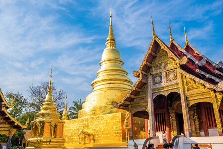 Chiang Mai, Thailand, 20 January 2020, Wat Phra Singh, inside the temple area, there are many tourists come every day