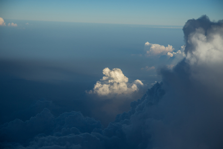 white cloud and blue sky from window airplane 写真素材