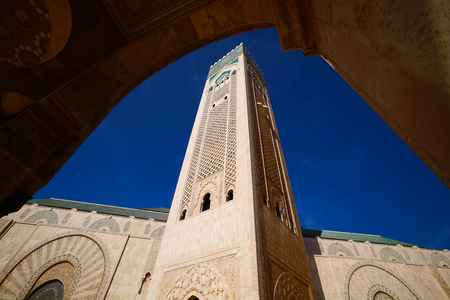 Hassan II Mosque during the blue sky in Casablanca, Morocco Editorial