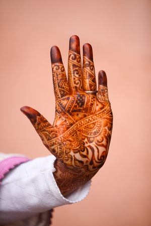 Morocco Girl show Henna Hands.North Africa, Morocco, Marrakech. Stock Photo