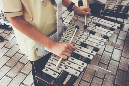 the boy train music by Xylophone ( Glockenspiel )   for marching band , Color Vintage style , Thailand