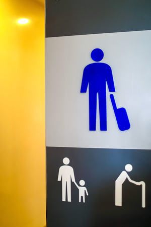 Restroom male and public sing bathroom at airport,Thailand Standard-Bild