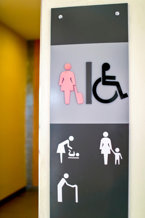 Restroom female and cripple public sing bathroom at airport,Thailand Standard-Bild
