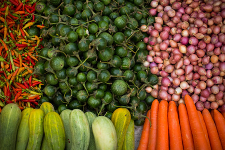 Different fresh farm vegetables. healthy organic food concept,  raw material .Healthy eating. fresh market at laos