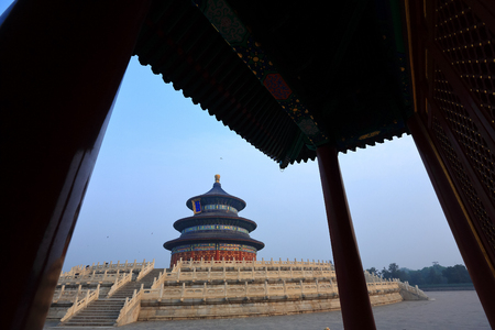 Temple of Heaven in Beijing ,the famous attraction , China with copy space 報道画像