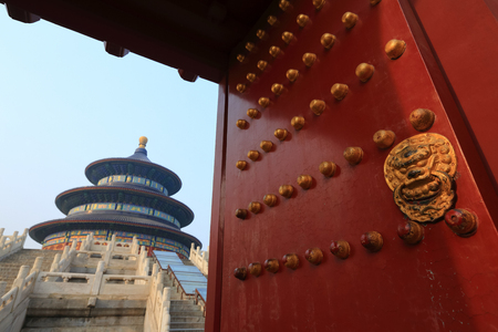 Temple of Heaven in Beijing ,the famous attraction , China with copy space. focus only foreground.