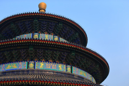 Temple of Heaven in Beijing ,the famous attraction , China with copy space.