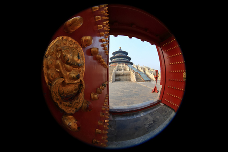 Temple of Heaven in Beijing ,the famous attraction , China take with Curcular fisheye lens