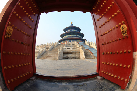 Temple of Heaven in Beijing ,the famous attraction ,open the doors, China