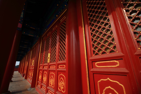 Red doors at Temple of Heaven in Beijing ,the famous attraction , China