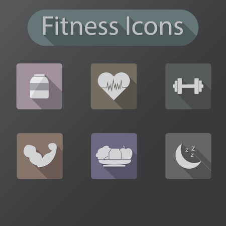 fitness icon flat design long shadow