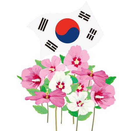 illust: Mugunghwa and Korean flag