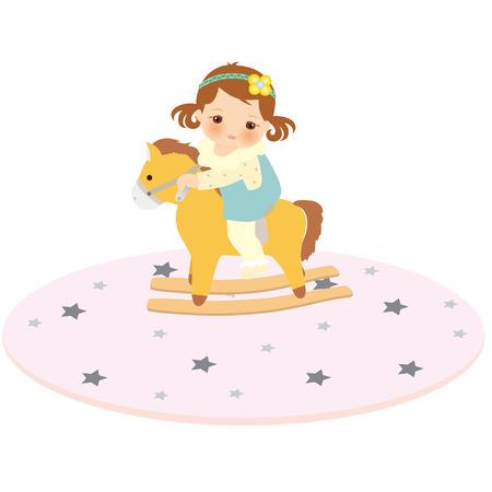 rocking: rocking horse baby Illustration