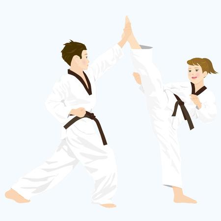 korea girl: Taekwondo, a Korean martial art 2 Illustration