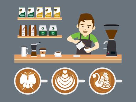 tazas de cafe: Barista Verter Latte Art Vectores