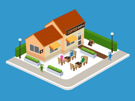coffee shop: Coffee Shop on Street, Vector illustration