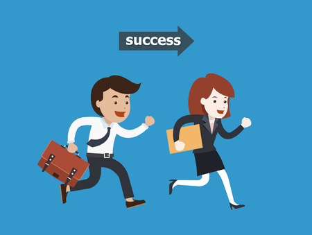 happy employee: Business people running to success illustration Illustration