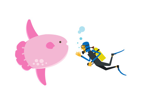 Scuba diving with sunfish, illustration