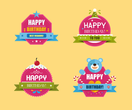 Happy Birthday Labels Collection, Vector illustration